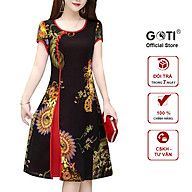 GOTI - Đầm Suông Dự Tiệc Trung Niên Kiểu Váy Đầm Trung Niên Cao Cấp Dành Cho Mẹ U50 U60 In Họa Tiết Cổ Tàu Đính Nút 3240 3310 thumbnail