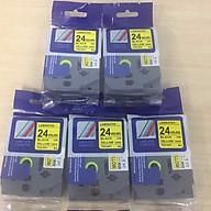 Combo 5 cuộn nhãn in TZ2-651 tiêu chuẩn - Chữ đen trên nền vàng 24mm - Hàng nhập khẩu thumbnail