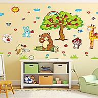 Decal dán tường cho bé thú ngồi gốc táo ngộ nghĩnh xl8205 thumbnail
