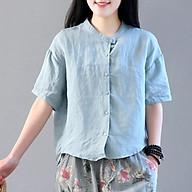 Áo sơ mi nữ vải đũi phom rộng tay ngắn cài khuy đẹp. thumbnail
