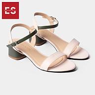 Gia y sandal cao go t Erosska thời trang mu i tro n phô i dây nhiê u ma u tinh tê cao 3cm EB019 thumbnail