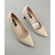 Giày nữ mũi nhọn gót trụ 5cm có lót đêm êm ái Enako TP13278 - Kem mờ - 35 thumbnail