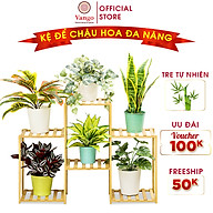 Giá kệ để chậu hoa, cây cảnh, để đồ đa năng bằng gỗ tre tự nhiên Vango V18 sang trọng, hiện đại, sơn phủ bóng chống nước thumbnail