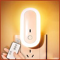 Đèn ngủ Oval cắm điện 10 cấp độ sáng có remote - đèn ngủ thông minh - hẹn giờ - 2 cổng USB sạc nhanh mới 2021 thumbnail