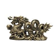 Tượng đá trang trí rồng - màu nhũ vàng thumbnail
