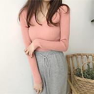 áo len dệt kim nữ cổ V dài tay kẻ sọc theo phong cách Hàn Quốc thiết kế nhẹ nhàng(4 màu hồng kem xám nâu) thumbnail