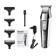 Bộ dụng cụ cắt tóc KEMEI với tông đơ điện LCD + 3 lược dẫn hướng + 1 mũ bảo vệ đầu tông đơ + 1 cọ làm sạch + cáp sạc thumbnail