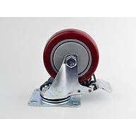 Bánh xe đẩy mặt đế xoay càng sắt mạ kền tải trọng 50kg lốp nhựa TPR đỏ mận rộng 32mm 75mm có khóa thumbnail
