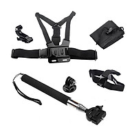 Bộ Phụ Kiện Camera gậy selfire, đai đeo ngực, đai đeo đầu, kẹp mũ, túi cho camera thê thao, camera hành trình SJCAN, GoPro, Eken thumbnail