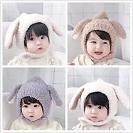 Mũ len lông cừu cài cúc, mũ len hình tai cừu cho bé thumbnail