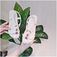 Sandal nữ phối hoa phong cách boho trắng đi biển đi học thumbnail