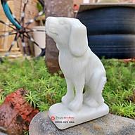 Tượng đá chó 12 con giáp phong thủy đá trắng xanh 12cm đá Non Nước thumbnail