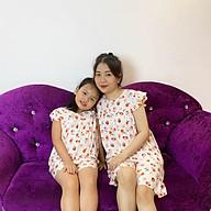 Bộ mặc nhà vải tole lanh tay cánh tiên thoáng mát cho mẹ và bé gái thumbnail