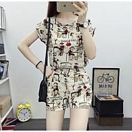 Set Lady phong cách Hàn Quốc áo cộc tay rời quần - Kem Sáng S01 thumbnail