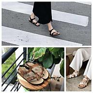 Dép sandal quai hậu nữ xỏ ngón đế trấu VNXK màu đen QUAI DÁN - QUAI CÀI SATA22D thumbnail