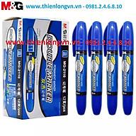 Hộp 12 cây bút lông dầu 2 đầu M&G - 2110 xanh thumbnail