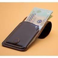 Ví sen 3, da bò thật, ví mini cầm tay cho nam và nữ đựng tiền và thẻ, bh 24 tháng 1 đổi 1, VSN19 thumbnail