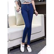 quần jean nữ trơn ống ôm wash xanh sáng thumbnail