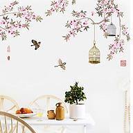 Decal dán tường trang trí Tết- Lồng chim hoa đào- GS9314 thumbnail