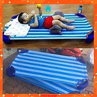 giường trẻ em , giường lưới cho bé kẻ sọc xanh dương 60x120 cm có 2 thanh đỡ dưới lưng chắc chắn , lớp lưới thoáng mát thumbnail