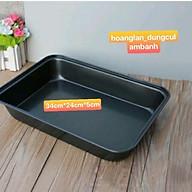 Khay, khuôn nướng bánh chống dính chữ nhật màu đen 34cm 24cm 5cm thumbnail