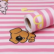 Cuộn 5m Decal Giấy Dán Tường Chó snoopy sọc hồng (5m dài x 0.45m rộng) thumbnail