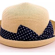 Mũ cói vành nhỏ phong cách Vintage (Bi xanh) - Hàng cao cấp thumbnail