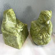 Tượng thần tài thổ địa đá tự nhiên xanh chất ngọc serpentine đá việt nam ( một cặp) thumbnail