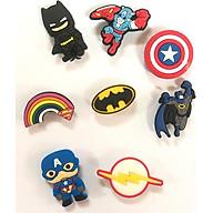 Combo 8 cái Sticker Jibbitz, nút gắn dép sục, dép cá sấu, hình siêu anh hùng thumbnail