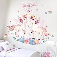 Decal dán tường trang trí phòng ngủ, lớp mầm non- Ngựa hồng- mã sp DQR9091 thumbnail
