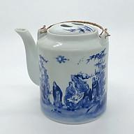 Ấm tích hãm trà xanh men trắng xanh - loại 1l thumbnail