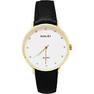 Đồng hồ Nam Halei - HL542 Dây da đen mặt trắng (Tặng pin Nhật sẵn trong đồng hồ + Móc Khóa gỗ Đồng hồ 888 y hình + Hộp Chính Hãng+ Thẻ Bảo Hành) thumbnail