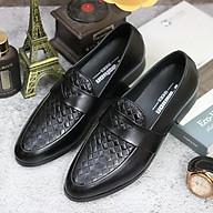 Giày lười da nam, Da mềm cao cấp, Đế cao 3cm, Có khâu đế chắc chắn, MãL136 màu đen, Hàng Việt thumbnail