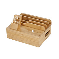 3-in-1 Bamboo Desktop Storage Bracket Mobile Phone Tablet Charging Station for Phone iPad Apple Watch Airpods US Plug thumbnail