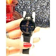 Đồng hồ nữ dây kim loại lưới khóa nam châm mặt tròn đen cá tính ĐHĐ6003 thumbnail