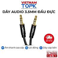 Dây Audio 3.5mm TOPK L20 2 đầu đực dạng cáp tròn mạ vàng 24K - Vỏ TPE dài 1m - Hàng chính hãng thumbnail