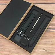 Dây Da Đồng Hồ Thay Thế Dành Cho Đồng Hồ DW Daniel Wellington - Tặng Kèm Hộp Gỗ và Phụ Kiện - Size 20mm Case 40mm - Đen Khoá Bạc thumbnail