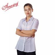 Áo sơ mi nữ Amazing, màu trắng, tay ngắn, vải KT silk, size từ 40-80kg thumbnail