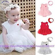 Váy đầm công chúa cho bé sơ sinh đầy tháng thôi nôi thêu họa tiết trái tim kèm băng đô hoa Baby Sheep thumbnail