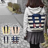 Ba lô kẻ sọc hình đôi chân đi giày thể thao 3way mis zapatos Nhật Bản thumbnail