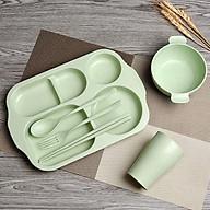 Bộ khay đựng đồ ăn 6 món (khay, ly, bát, thìa, nĩa, đũa) bằng lúa mạch dễ thương, tiện dụng - màu giao ngẫu nhiên thumbnail