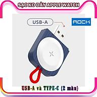 Đế Sạc Không Dây Chính Hãng ROCK dành cho Apple Watch 38 40 42 44mm Series 1 2 3 4 5 6 Se - cổng Type-C và USB-A - Xanh. thumbnail
