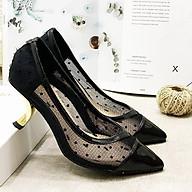 Giày cao gót nữ phối lưới chấm bi gót vàng kiểu thời trang - LN222 thumbnail