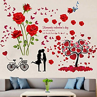 Decal dán tường hoa hồng và cây trái tim xe đạp - HP157 thumbnail