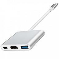 Hub chuyển đổi USB Type-C Sang USB 3.0 HDMI-Type C (Bạc) thumbnail