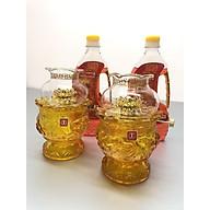 Đôi đèn thờ đốt dầu thuỷ tinh hoa sen nỗi( tặng kèm 2 chai dầu 500ml) - TL214 thumbnail