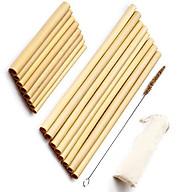 Bộ 10 Ống hút tre (Bamboo straws), Túi vải canvas và Cọ rửa ống hút thumbnail