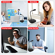 Desktop Computer Microphone USB Wired Microphone 360 Degrees Omnidirectional Condenser Mic Adjustable Neck with Mute thumbnail