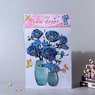Bình hoa 3D trang trí tường, tủ lạnh, quán cafe- Bình hoa hồng xanh thumbnail