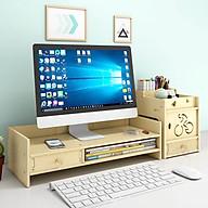 Kệ màn hình máy tính kệ laptop để bàn KMT2910 giúp giảm mỏi vai gáy cho dân văn phòng kệ sách kệ hồ sơ kèm cắm viết bằng gỗ 2 màu nâu sáng tùy chọn - Tặng kèm 1 móc khóa khung hình thời trang thumbnail
